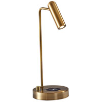 Kaye 17 inch 5 watt Antique Brass Desk Lamp Portable Light, with AdessoCharge Wireless Charging Pad and USB Port