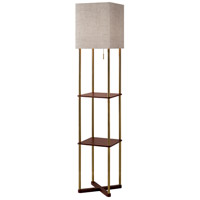 Harrison 62 inch 150 watt Antique Brass and Walnut Wood Paper Veneer Shelf Floor Lamp Portable Light in Square Textured Natural Fabric, with 2 USB Ports