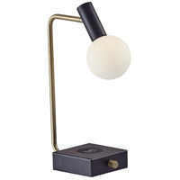 Windsor 18 inch 4.5 watt Matte Black with Antique Brass Accents Desk Lamp Portable Light in Matte Black and Antique Brass, with AdessoCharge Wireless Charging Pad and USB Port