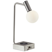 Windsor 18 inch 4.5 watt Brushed Steel Desk Lamp Portable Light, with AdessoCharge Wireless Charging Pad and USB Port