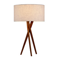Brooklyn 30 inch 100 watt Light Walnut Table Lamp Portable Light