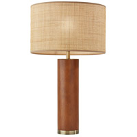 Adesso 3328-15 Napa 26 inch 150 watt Walnut Rubberwood with Antique Brass Accents Table Lamp Portable Light