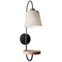 Jeffrey 1 Light 7 inch Black and Antique Brass Wall Lamp Wall Light, with USB Port