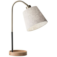 Jeffrey 21 inch 60 watt Black and Antique Brass with Natural Rubber Wood Desk Lamp Portable Light