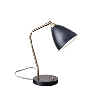 Adesso Chelsea 1 Light Desk Lamp in Painted Brass and Black with Painted Black Metal Cone Shade 3463-01