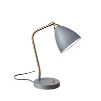 Adesso Chelsea 1 Light Desk Lamp in Painted Brass and Grey with Painted Grey Metal Cone Shade 3463-03