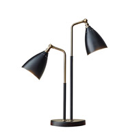 Adesso Chelsea 1 Light Desk Lamp in Black With Antique Brass with Black Metal Cone Shade 3464-01