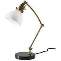 Spencer 20 inch 40 watt Antique Brass and Black Marble Desk Lamp Portable Light