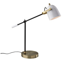Adesso 3494-21 Casey 19 inch 40 watt Black and White with Antique Brass Desk Lamp Portable Light