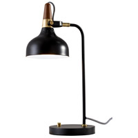 Brunswick 21 inch 60 watt Black and Antique Brass with Walnut Rubberwood Desk Lamp Portable Light