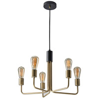 Weber 5 Light 21 inch Antique Brass and Black Pendant Ceiling Light