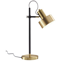 Clayton 23 inch 60 watt Matte Black and Antique Brass Desk Lamp Portable Light