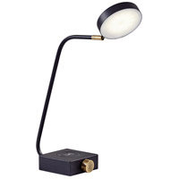 Conrad 16 inch 7 watt Matte Black with Antique Brass Accents Desk Lamp Portable Light, with AdessoCharge Wireless Charging Pad and USB Port