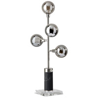 Calder 28 inch 3.5 watt Brushed Steel and Black Marble with Clear Glass Table Lamp Portable Light