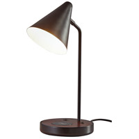 Adesso 3688-01 Oliver 20 inch 60 watt Matte Black and Walnut Wood Desk Lamp Portable Light with AdessoCharge Wireless Charging Pad and USB Port
