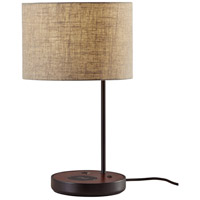 Adesso 3689-01 Oliver 20 inch 100 watt Matte Black and Walnut Poplar Wood Table Lamp Portable Light with AdessoCharge Wireless Charging Pad and USB