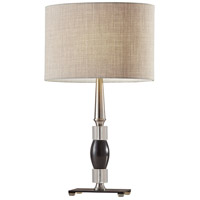 Carson 24 inch 100 watt Brushed Steel with Crystal and Black Marble Table Lamp Portable Light