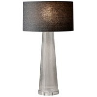 Beverly 26 inch 100 watt Clear Striped Glass Table Lamp Portable Light