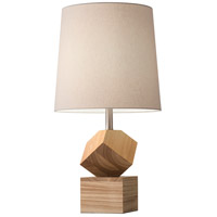 Logan 25 inch 100 watt Natural Rubberwood Desk Lamp Portable Light