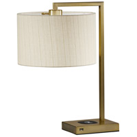 Austin 21 inch 60 watt Antique Brass Table Lamp Portable Light, with AdessoCharge Wireless Charging Pad and USB Port
