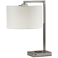 Austin 21 inch 60 watt Brushed steel Table Lamp Portable Light, with AdessoCharge