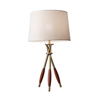 Adesso Columbus 1 Light Decor Table Lamp in Antique Brass with Dark Wood Accents with Off-White Textured Fabric Modified Drum Shade 4138-21