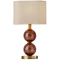 Donna 18 inch 60 watt Antique Brass and Burgundy Red Glass Table Lamp Portable Light