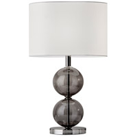 Donna 25 inch 100 watt Polished Nickel and Smoked Glass Table Lamp Portable Light