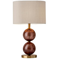 Donna 25 inch 100 watt Antique Brass and Burgundy Red Glass Table Lamp Portable Light