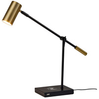 Collette 12 inch 7 watt Black and Antique Brass Desk Lamp Portable Light, with AdessoCharge Wireless Charging Pad and USB Port