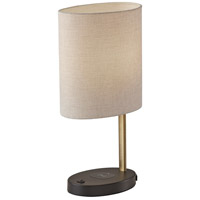 Adesso 4223-21 Curtis 22 inch 60 watt Black with Antique Brass Accents Table Lamp Portable Light with AdessoCharge Wireless Charging Pad and USB Port