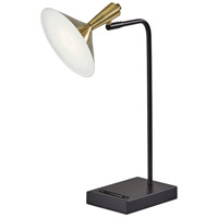 Adesso 4262-01 Lucas 22 inch 6 watt Black with Antique Brass LED Desk Lamp Portable Light, with USB Port