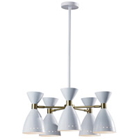 Adesso 4280-02 Oscar 5 Light 34 inch White with Antique Brass 5-Head Pendant Ceiling Light