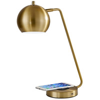 Adesso 5131-21 Emerson 18 inch 60 watt Antique Brass Desk Lamp Portable Light, with AdessoCharge Wireless Charging Pad and USB Port  alternative photo thumbnail