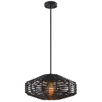 Adesso 5240-01 Kingston 1 Light 15 inch Black and Black Rattan Pendant Ceiling Light