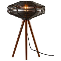 Adesso 5241-01 Kingston 24 inch 60 watt Walnut Wood and Black Rattan Table Lamp Portable Light