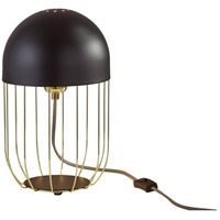 Adesso 6009-04 Lionel 15 inch 60 watt Matte Black and Shiny Gold Table Lantern Portable Light