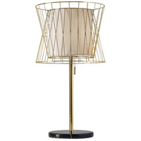 Verona 29 inch 100 watt Shiny Gold and Black Marble Table Lamp Portable Light
