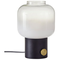 Adesso 6027-01 Lewis 12 inch 60 watt Matte Black with Antique Brass Accent Table Lamp Portable Light
