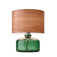 Adesso Jade 1 Light Decor Table Lamp in Green Painted Glass with Natural Wood Texture Drum Shade 6028-05