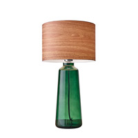 Jade 22 inch 60 watt Green Painted Glass Table Lamp Portable Light