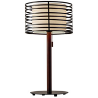 Reed 26 inch 100 watt Walnut Pine Wood and Black Table Lamp Portable Light