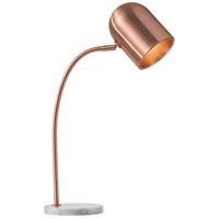 Simone 27 inch 60 watt Brushed Copper and White Marble Desk Lamp Portable Light