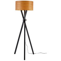 Bronx 62 inch 100 watt Black Wood Floor Lamp Portable Light