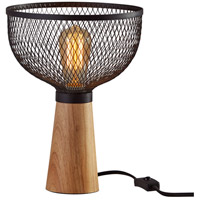 Adesso 6269-01 Dale 12 inch 60 watt Matte Black and Natural Rubber Wood Table Lamp Portable Light