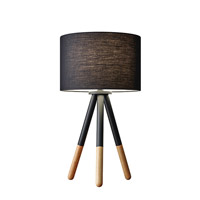 Adesso Louise 1 Light Decorative Table Lamp in Black Painted Metal with Wood Tips with Black Fabric Drum Shade 6284-01
