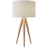 Director 26 inch 100 watt Natural Wood Table Lamp Portable Light