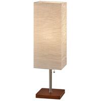 Adesso 8021-15 Dune 26 inch 100 watt Brushed Steel with Walnut Rubberwood Table Lamp Portable Light