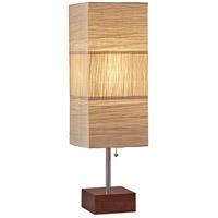 Adesso 8026-15 Sahara 26 inch 60 watt Brushed Steel and Walnut Rubberwood Table Lamp Portable Light