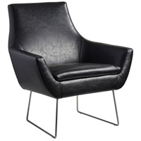 Adesso GR2002-01 Kendrick Black Distressed PU Leather and Brushed Steel Accent Chair
